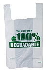 degradable white plastic vest-shape carrier bag