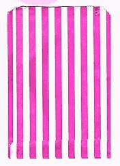 Pink and White Stripe Patterned Paper Bag