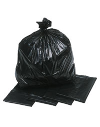 Picture of a black polythene compactor sack
