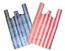 striped vest-shape plastic carrier bags